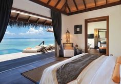 When I get my house on the beach, I want a view like this. Love the bed looking right out the movable wall! Ayada Maldives Resort