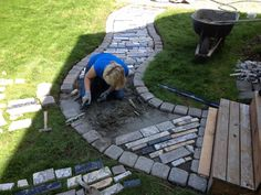 DIY walkway made out of free granite counter top scraps