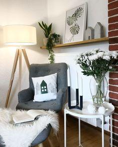Grün, Grau, Weiß | SoLebIch.de Foto: Kreativtreff #solebich #wohnzimmer