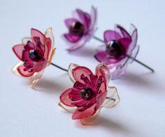 Upcycled Plastic Bottle Flower Stud Earrings Tutorial ~ The Beading Gem's Journal