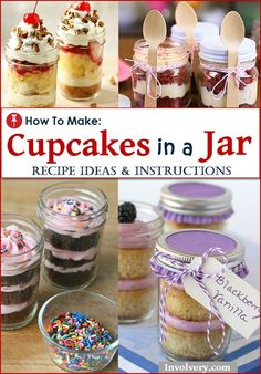 Awesome Creative Cupcakes Ideas:  DIY Cupcakes in a Jar!  DIY Instructions, How To Video and recipes.  Fun for birthday parties, baby showers,…