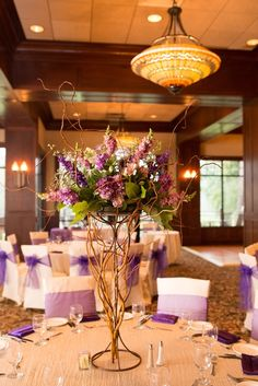 Tall purple and green centerpiece // CM Floral Design // MD Turner Photography // http://www.theknot.com/submit-your-wedding/photo/887d2fd1-237a-4c72-b8e5-6e860839ae0b/Elizabeth-Braden