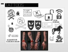 I thought he has more than these, like on his stomach, but these are the ones you can see all the time Wrench Watch Dogs 2, Watch Dogs 1, Dog Tattoos, I Tattoo, Tatoos, Watchdogs 2 Wrench, Wrench Tattoo, Male Cosplay, Cosplay Costumes