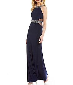 B Darlin Illusion Sides Beaded Trim High Neck OpenBack Long Dress #Dillards