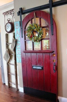 Door from Philadelphia Salvage as Sliding Pantry Door - Sanded, painted Barn Door Red by Glidden, then waxed with Maison Blanche antique dark wax. I would love this for a pantry door! Farmhouse Decor, Decor, Home Diy, Doors, Old Doors, Sliding Pantry Doors, Country Decor, Door Makeover, Home Decor
