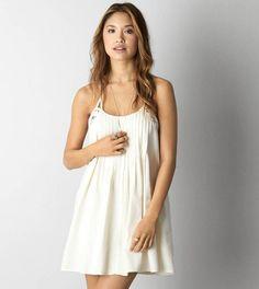 Cream AEO Pintucked Shift Dress
