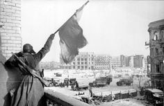 This picture shows a Soviet Soldier waving a red flag after defeating the German forces for the Battle of Stalingrad. The Battle of Stalingrad was perhaps the most brutal of them all as it had no regard for civilian life. The battle between the Soviet Union and Germany meant that there was a war on two fronts and that the German forces were now weaker. The German forces suffered great casualties in this battle leaving their army crippled, never able to rise to former strength.