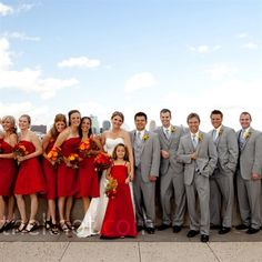 Red, Orange and Gray bridal party
