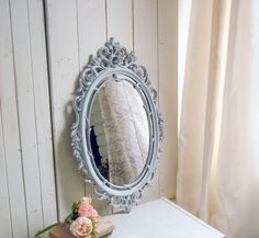 French Farmhouse Gray Vintage Ornate Mirror, Rustic Grey and Gold Mirror, Shabby Chic Mirror French Cottage Decor, French Farmhouse Decor, Shabby Chic Cottage, Shabby Chic Interiors, Shabby Chic Bedrooms, Grey And Gold, Gray, Shabby Chic Mirror, Ornate Mirror