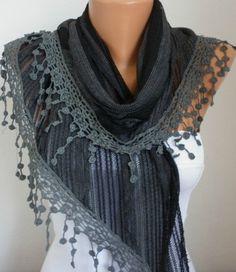 Black & Dark Gray Scarf Shawl Cowl Scarf Bridesmaid Gift Gift