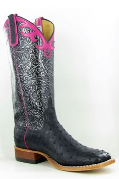 Anderson Bean Black FQ Ostrich Silver Tooled Cowgirl Boots $499.95