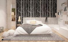 Projekt sypialni w naturalnych barwach - Architektura, wnętrza, technologia, design - HomeSquare