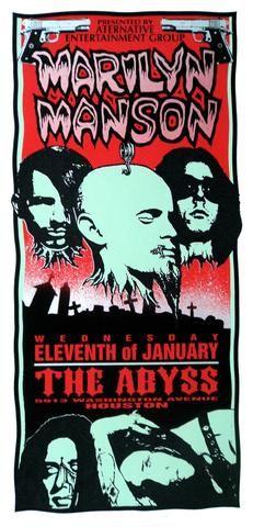 Mark Arminski 1995 Marilyn Manson Concert Poster Marilyn Manson Concert Posters Marilyn