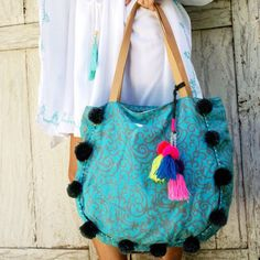 New Floripa pompom beach bag, available in Turquoise / Gray with Gray Pompons ⛱☀️