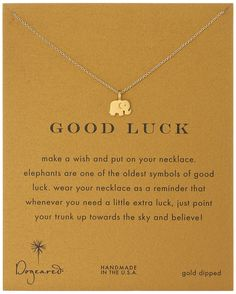 """Dogeared """"Good Luck"""" Gold Elephant Pendant Necklace"""