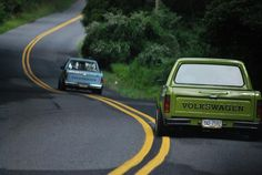 Two Vw Rabbit Pick up Trucks (caddy) on a windy country road. Vw Caddy Mk1, Vw Mk1, Volkswagen Caddy, Volkswagen Golf, Vw Rabbit Pickup, Vw Pickup, Pickup Trucks, Vw Cady, Vw Group