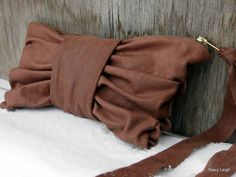 Distressed Brown Leather Bow Clutch Bag by Stacy by stacyleigh
