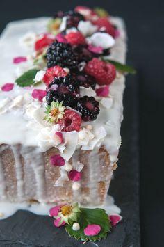 Coconut Cake w Coconut White Choc Glaze | Hungry Rabbit