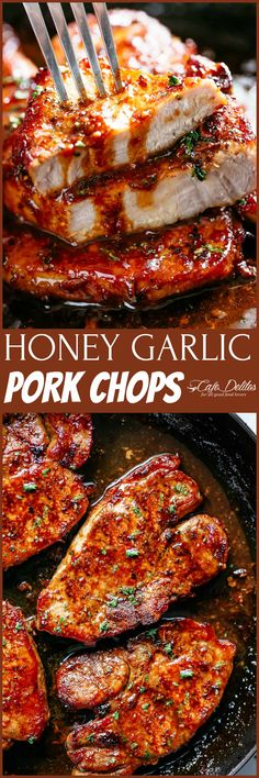 Juicy Honey Garlic Pork Chops with caramelised edges ready and on your table in less than 15 minutes! Smothered in the best sauce! This Honey Garlic Pork Chops Recipe is so easy you won't Pork Chop Recipes, Meat Recipes, Chicken Recipes, Dinner Recipes, Cooking Recipes, Healthy Recipes, Recipies, Pork Chop Meals, Pork Chop Sauce