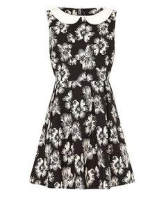 acb2d1cae6fb Mela London Black   White Floral Collared A-Line Dress