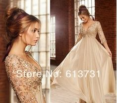 Online Shop 2014 New Arrival Sexy Deep V Neck Half Sleeves Champagne Chiffon Long Prom Dresses With Beaded Lace Top Formal Evening Dresses|Aliexpress Mobile