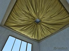 Ceiling fabric coverings on the model home decor ideas panels diy decoration id Ceiling Draping, Fabric Ceiling, Ceiling Decor, Ceiling Ideas, Tent Room, Shabby Chic Interiors, Bar Lounge, Model Homes, Restaurant Design