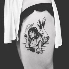 Mia Wallace smoking tattoo by Matt Cooley. pulpfiction cigarette smoking smoke cultfilm