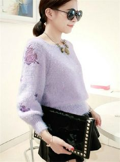 Embroidery hollow-out mink hair pullover ,flower embroidered light purple pullover, fashion women ninth sleeves  hollow-out furry sweater #embroidery #hollow-out #pullover #sweater www.loveitsomuch.com