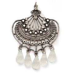 Darice Antique Silver Fan Pendant with Crystals