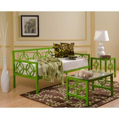 @Overstock - This versatile Medallion Twin Daybed features a classic design that fits in perfectly with any decor. This deep daybed provides ample seating and sleeping space and has plastic leg glides to protect floors from being scratched.http://www.overstock.com/Home-Garden/Medallion-Organic-Green-Twin-Daybed/6620953/product.html?CID=214117 $494.99
