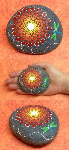Decorative Rocks Ideas : Mandala Stone by Kimberly Vallee: Hand painted with acrylic and protected with a matt finish each stone is diameter and is one-of-a-kind. Dot Art Painting, Rock Painting Designs, Mandala Painting, Pebble Painting, Pebble Art, Stone Painting, Mandala Painted Rocks, Mandala Rocks, Hand Painted Rocks