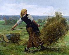 La faneuse farm life Realism Julien Dupre Oil Paintings