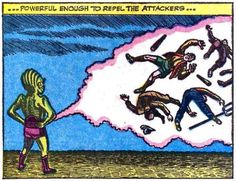 ... Powerful enough to repel the attackers ... It's coming from... where? | Vintage Comic Panel