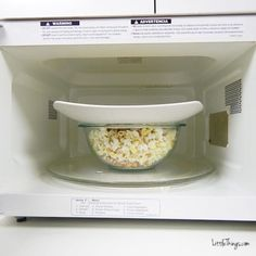 Homemade Popcorn 1/4 C Kernels 2 Tbs Butter Microwave safe Bowl and Plate