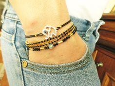 Elephant bracelet set evil eye jewelry animal by Handemadeit, $24.90