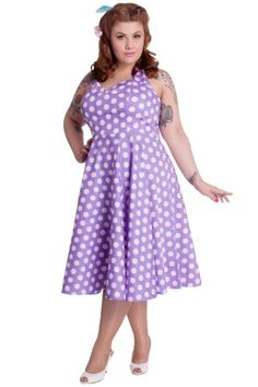 36c85b736c ... Bunny s Meriam rockabilly swing dress in lavender and white large polka  dots. Halter style dress with fitted bodice in a slightly stretch cotton  fabric.