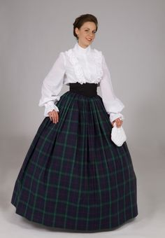 "This outfit is a very, very common beginner mistake.  The good things: the skirt is a great length and covers the hoop nicely.   The bad things: White cotton blouse is a No and the black ""Medici Belt"" is also No.  Both are high fashion items and should be worn as part of a wool or silk ensemble and wealthy persona, not as a ""schoolmarm"" outfit.  ---  Old West, Prairie, & Saloon Dresses & Gowns from Recollections"