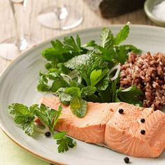 Poached Salmon with Fresh Herb Salad  | KitchenDaily.com