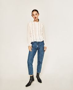 ZARA - WOMAN - FRILLED PLUMETIS BLOUSE