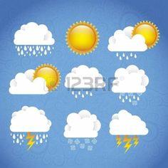 hot day windy day: Season Icons. Season cloud, with sun, rain, snowflakes, lightning, vector illustration