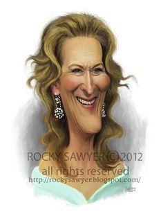 Sawyer Illustration Inc. caricature and cartoon art studio Meryl Streep Funny Caricatures, Celebrity Caricatures, Celebrity Drawings, Lucille Ball, Meryl Streep, Cartoon Sketches, Cartoon Art, Create A Comic, Jordi Bernet
