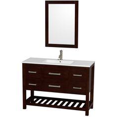 Wyndham Collection Natalie 48 Single Espresso Bathroom Vanity Set with Mirror Top Finish: White Porcelain, Base Finish: White Discount Bathroom Vanities, Single Sink Bathroom Vanity, Bath Vanities, Modern Bathroom, Bathroom Ideas, Asian Bathroom, Mirror Bathroom, Downstairs Bathroom, Bathroom Cabinets