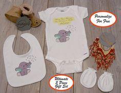 9251dda703 A SHOWER OF LOVE Baby Onesie® 3 Piece Gift Set