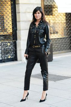 la-modella-mafia-Emmanuelle-Alt-paris-street-style-in-all-black-leather-everything-Balmain-1