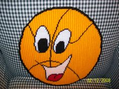 $12-Hand Crafted Plastic Canvas Happy Basketball