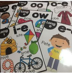 Long vowel posters and cards set.