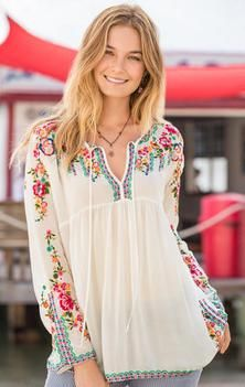 FRANCESCA BLOUSE. Embroidered peasant blouse