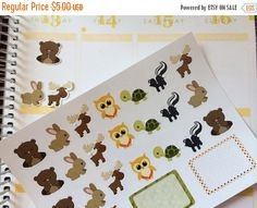 Huge Sale Planner Stickers Woodland Animal Set Day Planner Stickers