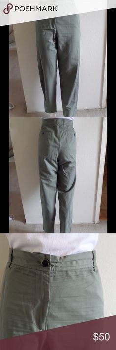 "DRIES VAN NOTEN Light Olive Green Pants Sz44/US12 From Dutch designer and luxury brand Dries van NOTEN come these chic pants. Features include:  • Made of cotton and linen  • Light olive green color  • Plain front  • Zipper and button closure  • Belt loops  • Two front slash pockets  • Two back slit button pockets  • Straight leg   CONDITION: In very good condition with minimal wear (just wrinkled)   MEASUREMENTS: 30"" waist x 38"" hips x 28"" inseam x 32"" length Dries Van Noten Pants Straight…"