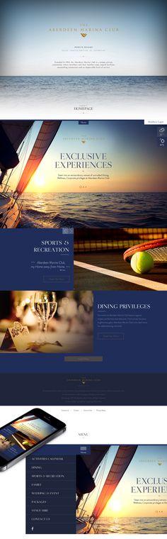 Marina Club Website on Behance Web Design, Sports 5, Aberdeen, User Interface, Menu, Behance, Club, Website, Design Inspiration